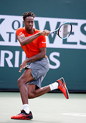 March 9, 2019 - Indian Wells, CA, U.S. - INDIAN WELLS, CA - MARCH 09: Gael Monflis (FRA) hits a forehand during the second round of the BNP Paribas Open on March 09, 2019, at the Indian Wells Tennis Gardens in Indian Wells, CA. (Photo by Adam Davis/Icon Sportswire) (Credit Image: © Adam Davis/Icon SMI via ZUMA Press)