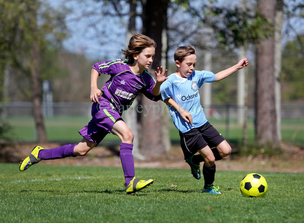 06 March 2016.  Mandeville, Louisiana.<br /> New Orleans Jesters Youth Academy U10 Green vs Mandeville Soccer Club 'Black.' Jesters lose 3-4.<br /> Photo©; Charlie Varley/varleypix.com