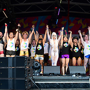 London, England, UK. 7th July 2018. Pride in London Board make a speaks at the Pride parade in Trafalgar Square, London, UK on 7th July 2018.