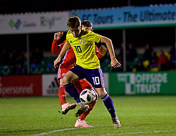 RHYL, WALES - Wednesday, November 14, 2018: Wales' Dylan Levitt and Scotland's Billy Gilmour during the UEFA Under-19 Championship 2019 Qualifying Group 4 match between Wales and Scotland at Belle Vue. (Pic by Paul Greenwood/Propaganda)
