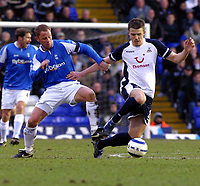 Photo: Dave Linney.<br />Birmingham City v Tottenham Hotspur. The Barclays Premiership. 18/03/2006Bham's .Kenny Cunningham(L) dives in to tackle Jamie Clapham