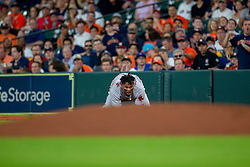 May 31, 2018 - Houston, TX, U.S. - HOUSTON, TX - MAY 31: Boston Red Sox third baseman Rafael Devers (11) reacts on the field after colliding with Houston Astros starting pitcher Lance McCullers Jr. (43) in the second inning during an MLB baseball game between the Houston Astros and the Boston Red Sox, Thursday, May 31, 2018 in Houston, Texas. (Photo by Juan DeLeon/Icon Sportswire) (Credit Image: © Juan Deleon/Icon SMI via ZUMA Press)