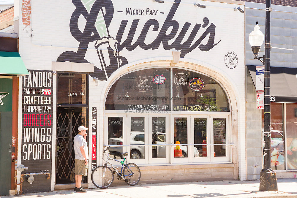 Lucky's bar and restaurant in Wicker Park August 2, 2015 in Chicago, Illinois, USA.