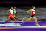 Turkey's Asli Cakir Alptekin(R) leads Ethiopia's Abeba Aregawi (C) and Bahrain's Maryam Yusuf in the Women's 1500M Final at the London 2012 Summer Olympics on August 10, 2012 in Stratford, London. Cakir Alptekin won Gold with a time of 4:10.23 while Jamal took the Bronze with a time of 4:10.74 in the final. Aregawi did not medal, finishing at 4:11.03.  (UPI)