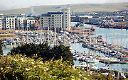 View over marina and harbour, Newhaven, East Sussex, England