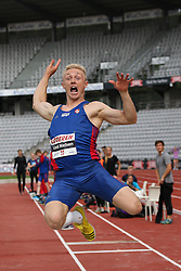 Denmark's Christian Lind Nielsen in the long jump at the Aarhus Nordic Challenge 2016 at Ceres Park, Aarhus, Denmark, 25.6.2016. (Allan Jensen/EVENTMEDIA).