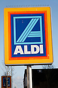Aldi shop sign. High street retailing January 2009, Lowestoft, Suffolk, England. Aldi's UK profits have risen as shoppers look for cheaper alternative during the rconomic downturn.