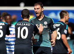 Chelsea's Branislav Ivanovic celebrates with Chelsea's Eden Hazard - Photo mandatory by-line: Robbie Stephenson/JMP - Mobile: 07966 386802 - 12/04/2015 - SPORT - Football - London - Loftus Road - Queens Park Rangers v Chelsea - Barclays Premier League