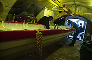 Richmond, Surrey, Specially commissioned boats built for the 150 year anniversary of the Varsity Boat Race to be raced on Boat Race day with selected crew members. The Cutters built at the Richmond Bridge Boat Houses.  [Mandatory Credit; Peter Spurrier / Intersport Images]