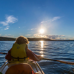 Sea kayaking in Frenchman Bay, Acadia National Park, Maine. Porcupine Islands.