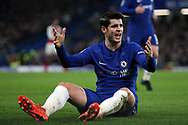 Alvaro Morata of Chelsea reacts after being fouled by Shkordran Mustafi of Arsenal. Carabao Cup , semi final 1st leg match, Chelsea v Arsenal at Stamford Bridge in London on Wednesday 10th January 2018.<br /> pic by Steffan Bowen, Andrew Orchard sports photography.