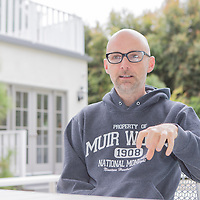 Moby, for The Good Life, at his house, near Griffith Park, Los Feliz, Los Angeles, California, USA. © Chris Elise