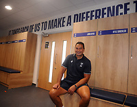 Rugby Union - 2020 - Premiership - Bristol Bears<br /> <br /> Pat Lam - Head Coach of Bristol Bears, sits in the changing room below one of 13 motivational phrases that he has added to the walls of the  training centre at the new Bristol Bears Training facility<br /> <br /> Credit: COLORSPORT/ANDREW COWIE