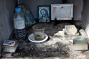 Greece, Macedonia, road side shrine with offerings
