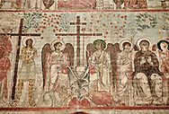 """Pictures & imagse of the interior frescoes depicting the Assumption of the Virgin in the Timotesubani medieval Orthodox monastery Church of the Holy Dormition (Assumption), dedcated to the Virgin Mary, 1184-1213, Samtskhe-Javakheti region, Georgia (country).<br /> <br /> Built during the reigh of Queen Tamar during the """"Golden Age of Georgia"""", Timotesubani Church of the Holy Dormition is one of the most important examples of medieval Georgian architecture and art. <br /> <br /> The interior frescoes of date from the 11th - 13th century so the Timotesubani church of the Dormition is a treasure trove of medieval Georgian art created during the reign of Queen Tamar. The fresco murals have been rescued and preserved by the Global Fund of Cultural Heritage. .<br /> <br /> Visit our MEDIEVAL PHOTO COLLECTIONS for more   photos  to download or buy as prints https://funkystock.photoshelter.com/gallery-collection/Medieval-Middle-Ages-Historic-Places-Arcaeological-Sites-Pictures-Images-of/C0000B5ZA54_WD0s<br /> <br /> Visit our REPUBLIC of GEORGIA HISTORIC PLACES PHOTO COLLECTIONS for more photos to browse, download or buy as wall art prints https://funkystock.photoshelter.com/gallery-collection/Pictures-Images-of-Georgia-Country-Historic-Landmark-Places-Museum-Antiquities/C0000c1oD9eVkh9c"""