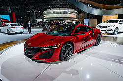 NEW YORK, USA - MARCH 24, 2016: Acura NSX on display during the New York International Auto Show at the Jacob Javits Center.