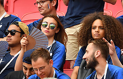 French World Cup sensation Kylian Mbappe's rumored girlfriend Miss France 2017 Alicia Aylies (R) watches from the stands the FIFA World Cup France v Argentina at the Kazan Arena stadium in Kazan, Russia on June 30, 2018. France defeated Argentina 4-3 and move into the quarter-finals. Photo by Christian Liewig/ABACAPRESS.COM