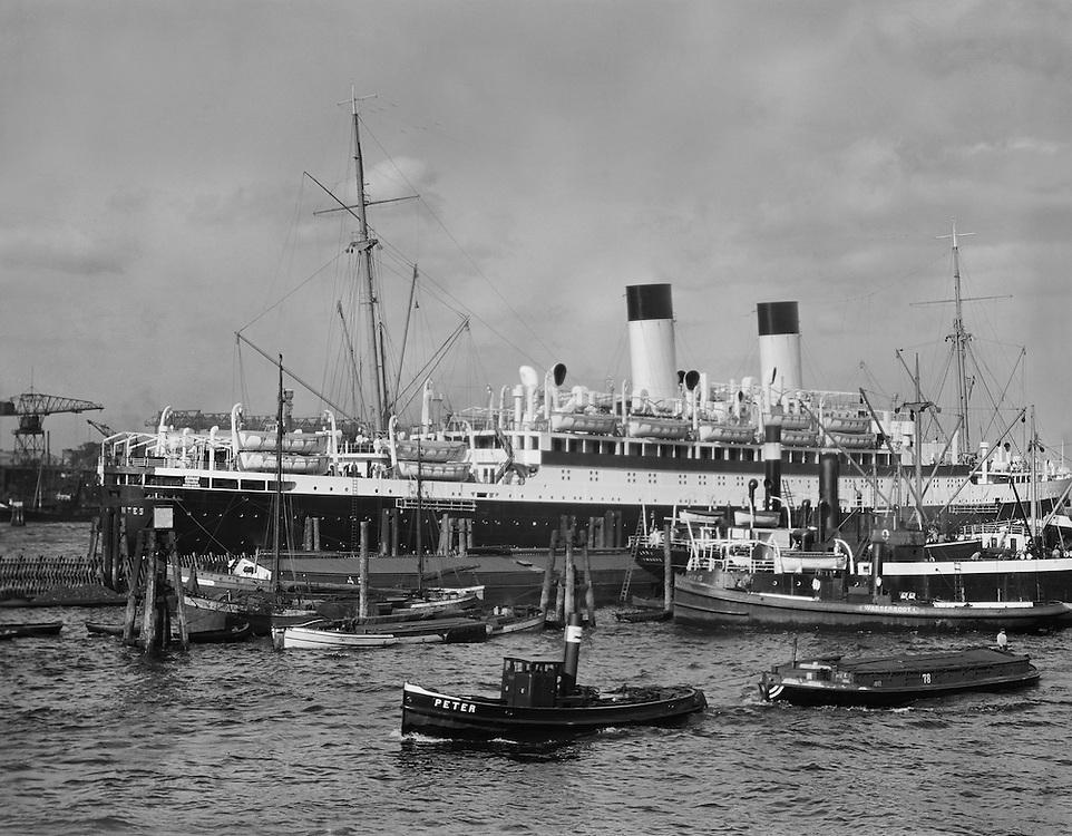 SS Miguel de Cervantes Docked in Hamburg Harbour, 1925