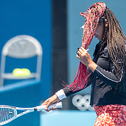 TOKYO, JAPAN - JULY 23: Naomi Osaka of Japan heads to the bench to adjust her hair while practicing on court one at Ariake Tennis Park in preparation for the Tokyo 2020 Olympic Games on July 223 2021 in Tokyo, Japan. (Photo by Tim Clayton/Corbis via Getty Images)