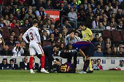 October 20, 2018 - Barcelona, Catalonia, Spain - Leo Messi of FC Barcelona injured in his right elbow during the La Liga match between FC Barcelona v Sevilla FC at Camp Nou Stadium, in Barcelona on 20 of October, 2018. (Credit Image: © Xavier Bonilla/NurPhoto via ZUMA Press)