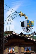 Sign for Gasthof Gotschna restaurant in Serneus near Klosters in Graubunden region, Switzerland