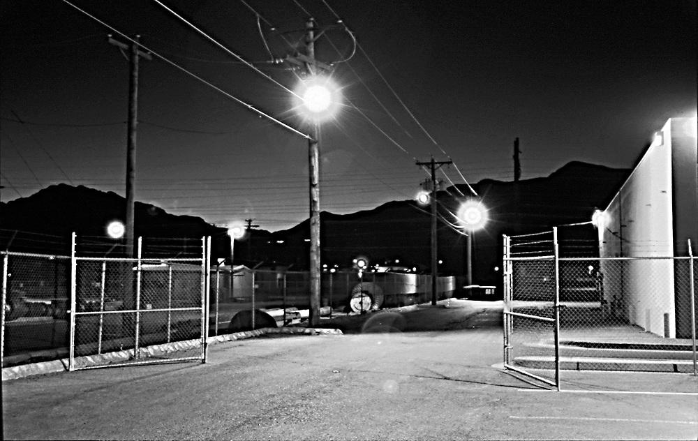 Gated back alley B&W .
