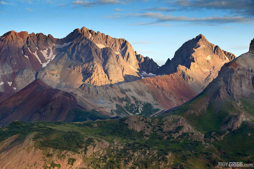 Morning light graces the Mount Wilson massif outside of Telluride, Colorado. Mount Wilson 14,246ft is located in the Lizard Head Wilderness of the San Juan National Forest and is the 2nd highest peak in the San Juan mountains.
