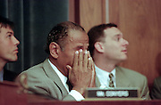 Ranking democrat Rep. John Conyers of the House Judiciary Committee shows the strain during hearings on whether impeachment proceedings should begin against President Bill Clinton October 5, 1998 in Washington, DC. This is only the third time in US history that impeachment proceedings against a President have been brought to the House committee.