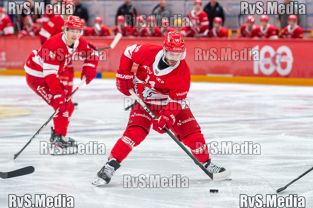 LAUSANNE, SWITZERLAND - OCTOBER 01: Jason Fuchs #14 of Lausanne HC in action during the Swiss National League game between Lausanne HC and ZSC Lions at Vaudoise Arena on October 1, 2021 in Lausanne, Switzerland. (Photo by Monika Majer/RvS.Media)