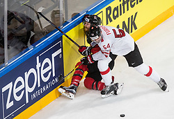 Claude Giroux of Canada vs Philippe Furrer of Switzerland during the 2017 IIHF Men's World Championship group B Ice hockey match between National Teams of Canada and Switzerland, on May 13, 2017 in AccorHotels Arena in Paris, France. Photo by Vid Ponikvar / Sportida
