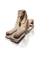 Ancient Egyptian Sphinx statue, sandstone, New Kingdom, early 19th Dynasty (1292-1250), Karnak, Temple of Amon. Egyptian Museum, Turin. white background.<br /> <br /> The Phatoah and queen could be represented by Sphinx statues and by associating human faces with the body of a lion the Egyptians combined the strength of the animal that was connected to the sun god with human inetelligence. In this guardian rols sphinxes were generally placed facing each other on either side of temple gates, processional ways or dooways inside the temple. . Drovetti Collection. C1408 .<br /> <br /> If you prefer to buy from our ALAMY PHOTO LIBRARY  Collection visit : https://www.alamy.com/portfolio/paul-williams-funkystock/ancient-egyptian-art-artefacts.html  . Type -   Turin   - into the LOWER SEARCH WITHIN GALLERY box. Refine search by adding background colour, subject etc<br /> <br /> Visit our ANCIENT WORLD PHOTO COLLECTIONS for more photos to download or buy as wall art prints https://funkystock.photoshelter.com/gallery-collection/Ancient-World-Art-Antiquities-Historic-Sites-Pictures-Images-of/C00006u26yqSkDOM