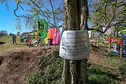 "Environmental activists camping site is seen next to HS2 construction site in Crackley Woods, Coventry, on Tuesday, April 14, 2020. (Photo/Vudi Xhymshiti)<br /> The HS2 construction works are seen to continue with ""business as usual"" in Crackley Woods, Coventry construction site.<br /> HS2 investors are challenging Public Health England and World Health Organisation guidance which aims to curb the spread of coronavirus pandemic outbreak in Britain. Although Britain has seen over 12 thousand of its citizens dying due to Covid19 outbreak since January this year, Government has given the green light for companies to start putting spades in the ground to build a new high-speed rail line, saying work could proceed in line with coronavirus safety guidelines despite the national lockdown."