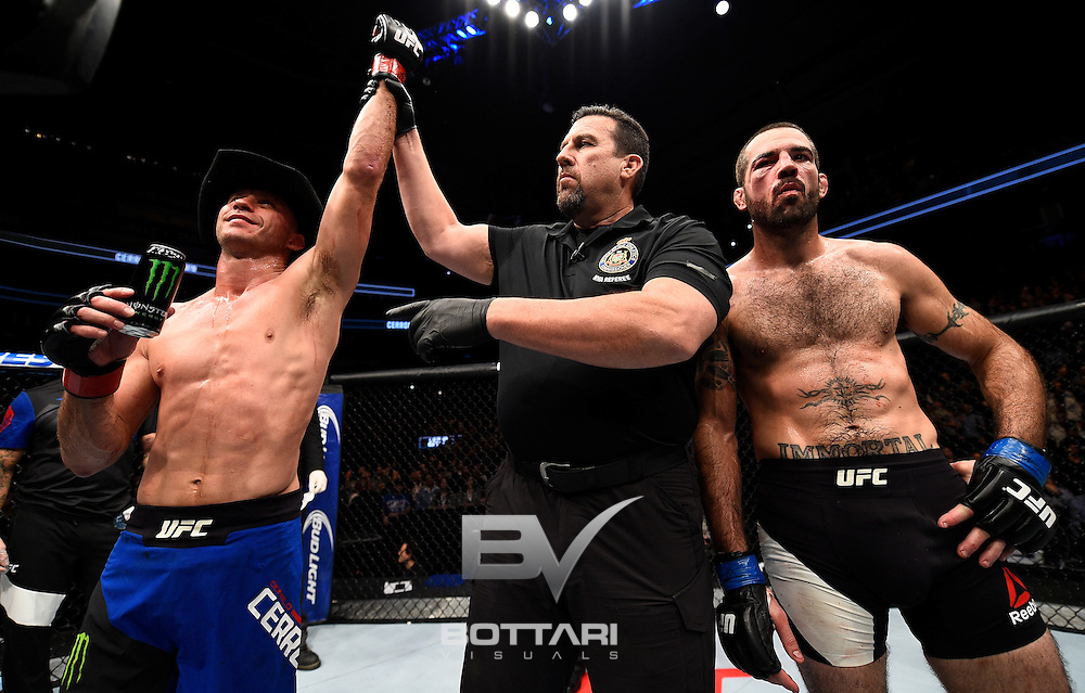 TORONTO, CANADA - DECEMBER 10:  Donald Cerrone reacts after his knockout victory over Matt Brown in their welterweight bout during the UFC 206 event inside the Air Canada Centre on December 10, 2016 in Toronto, Ontario, Canada. (Photo by Jeff Bottari/Zuffa LLC/Zuffa LLC via Getty Images)