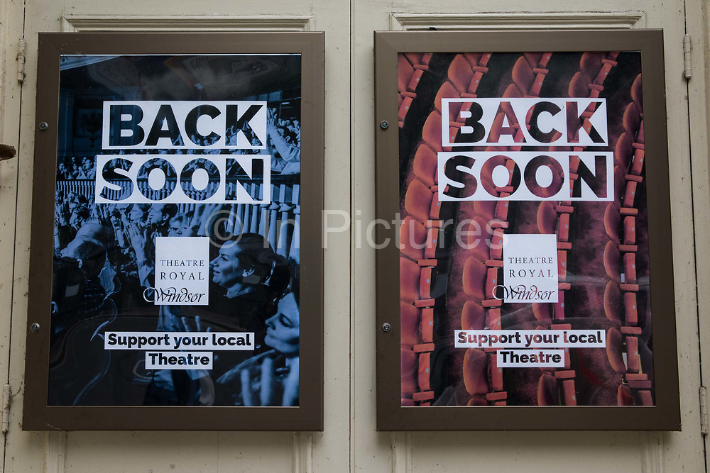 Posters calling for support for local theatres are displayed outside the Theatre Royal Windsor on 27th August 2020 in Windsor, United Kingdom. A production of Hamlet starring Sir Ian McKellen in the title role is expected to reopen Theatre Royal Windsor at a date to be announced when permitted to do so by government advice regarding the coronavirus COVID-19 pandemic.