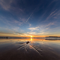 Autumnal reflections on Compton Beach, Isle of Wight