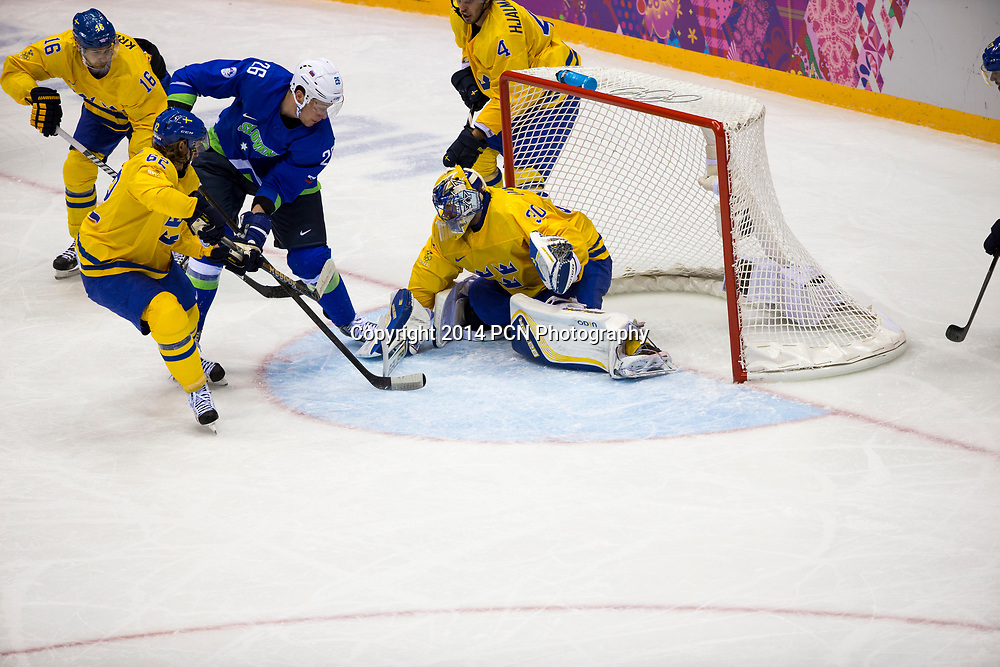 Henrik Lundqvist (SWE) goalie, during Sweden vs Slovenia game at the Olympic Winter Games, Sochi 2014