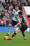 Tottenham Hotspur defender Kyle Walker controls the ball under pressure from AFC Bournemouth's defender Adam Smith during the Barclays Premier League match between Bournemouth and Tottenham Hotspur at the Goldsands Stadium, Bournemouth, England on 25 October 2015. Photo by Mark Davies.