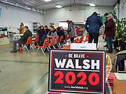 "24 JANUARY 2020 - POLK CITY, IOWA: People wait for a campaign event with Joe Walsh to start in Polk City, north of Des Moines. Walsh, a conservative radio personality, former Republican congressman, and one time supporter of Donald Trump is now challenging Trump for the Republican nomination for the US Presidency. During his appearance in Polk City, Walsh said Trump is unfit to be the President because he is a ""cheater,"" a climate change denier, and a ""threat"" to the United States.    PHOTO BY JACK KURTZ"
