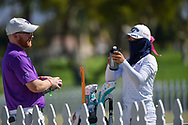 Yui Kawamoto (JPN) is all masked up on the practice green during the preview of the 2020 ANA Inspiration, Mission Hills C.C., Rancho Mirage, California, USA. 9/9/2020.<br /> Picture: Golffile | Ken Murray<br /> <br /> All photo usage must carry mandatory copyright credit (© Golffile | Ken Murray)