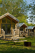 Rustic cedar cabins, El Capitan Canyon Resort, near Santa Barbara, California