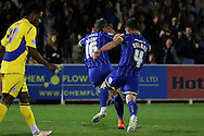Tom Beere of AFC Wimbledon celebrates after scoring his sides 1st goal to make it 1-0. Skybet football league two play off semi final, 1st leg match, AFC Wimbledon v Accrington Stanley at the Cherry Red Records Stadium in Kingston upon Thames, Surrey on Saturday 14th May 2016.<br /> pic by John Patrick Fletcher, Andrew Orchard sports photography.