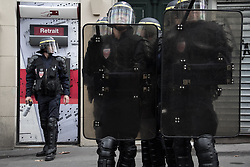 September 15, 2016 - Paris, France - National French police armed with pepper spray and shields watches over the demonstration in Paris on September 15, 2016 . Parisians took out the streets this Thursday to make a new demonstration over the so controversial Labor Law reform in France. Thousands gathered at Place de la Bastille for a peaceful walk to Place de la République, but as is usual, an anarchist group clashed in a confrontation with police that lasted all the way. (Credit Image: © David Cordova/NurPhoto via ZUMA Press)