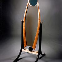 Dressing mirror<br /> ebonized walnut, cherry, maple brass and glass<br /> custom built for a hair studio in Boulder, Co.