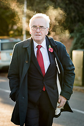 © Licensed to London News Pictures. 29/10/2018. London, UK.  JOHN MCDONNELL, Labour Shadow Chancellor leaving his London home as he heads for Parliament on Budget day.  Photo credit: Vickie Flores/LNP