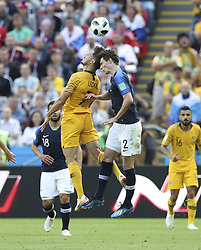 KAZAN, June 16, 2018  Benjamin Pavard (R front) of France and Mathew Leckie (L front) of Australia compete for a head ball during a group C match between France and Australia at the 2018 FIFA World Cup in Kazan, Russia, June 16, 2018. (Credit Image: © Wu Zhuang/Xinhua via ZUMA Wire)