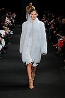 Ophelie Guillermand (WOMEN) walks the runway wearing Altuzarra Fall 2015 during Mercedes-Benz Fashion Week in New York on February 14, 2015