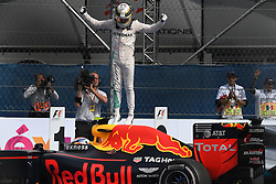 PARC FERME CELEBRATION FOR WINNER, MERCEDES BRITISH DRIVER, LEWIS HAMILTON NEXT TO DUTCH MAX VERSTAPPEN 'RED BULL PARKED HERE BY MISTAKE. - Formula One Grand Prix in Mexico City, Mexico,on October 28, 29, 30, 2016. Photo by Bernard Asset/ABACAPRESS.COM
