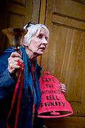 Protest against hotel development of Whitechapel Bell Foundry in Whitechapel, London on November 9th 2019. Jill Wilson, organiser.