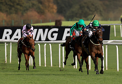 Reshoun (right) ridden by Jim Crawley wins the crownhotel-bawtry.com Handicap Stakes during Racing Post Trophy day at Doncaster Racecourse.