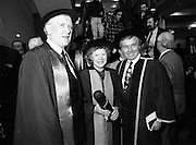 30/11/1992<br /> 11/30/1992<br /> 30 November 1992<br /> Conferring of Honorary Degrees (LL.D.) by the National Council for Educational Awards in Dublin Castle Conference Centre, Dublin. Picture shows Mr. Padraig Faulkner; Mrs. Angela Collins O'Mahony and Unknown.